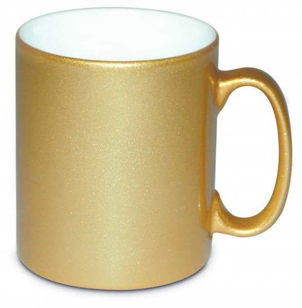Werbetasse Goldi in Gold